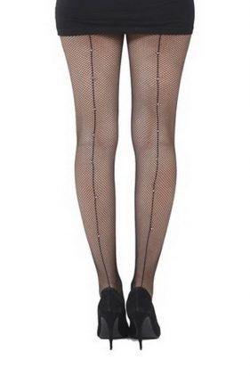 Black Fishnet Tights with Diamante Seam (Pamela Mann)