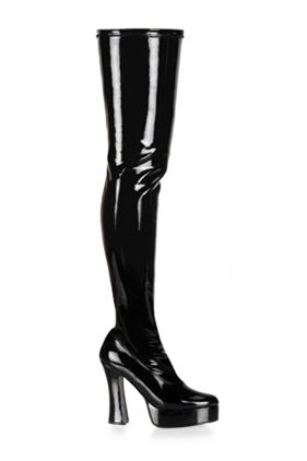 ELECTRA-3000Z Black Knee High Boots (by Pleaser)