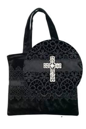 Gothic Brocade Handbag with a Crystal Cross
