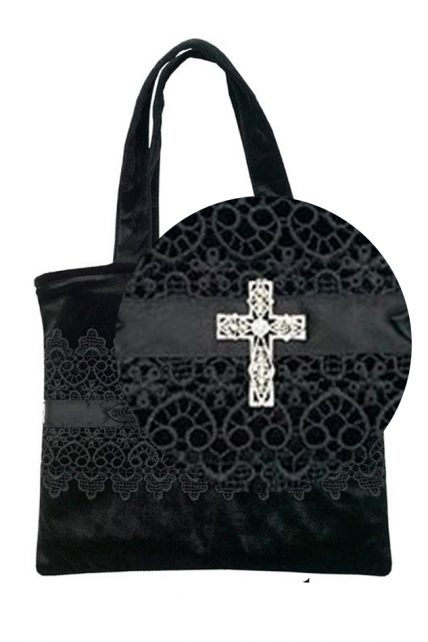 Gothic Brocade Handbag with a Crystal Cross