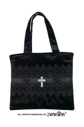 Gothic Brocade Handbag with a Crystal Cross (by Sinister)