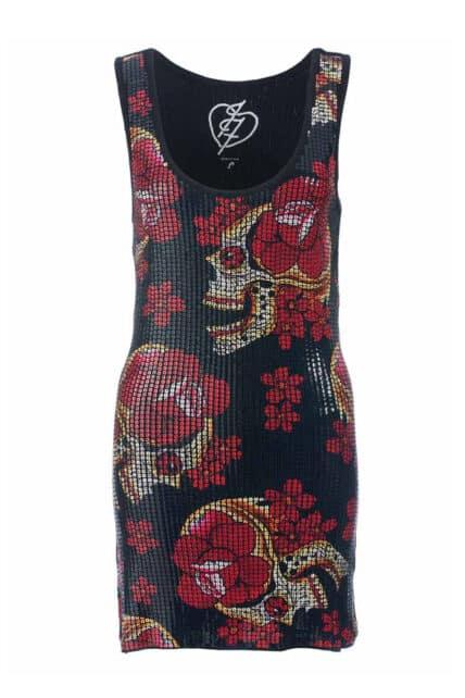 Siesta Skull Sequined Black Dress (by Iron Fist)