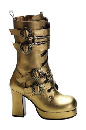 Womens Gothika-100 Gold Boots (by Demonia)