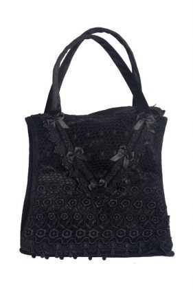 Womens Black Lace and Velvet Goth Handbag (by Sinister)