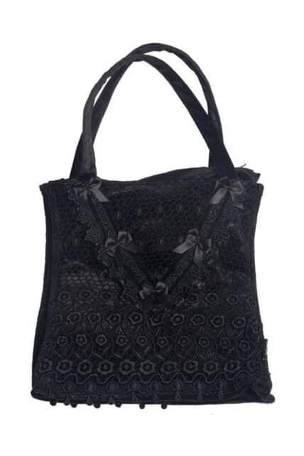 Womens Black Lace and Velvet Goth Handbag (by Sinister)
