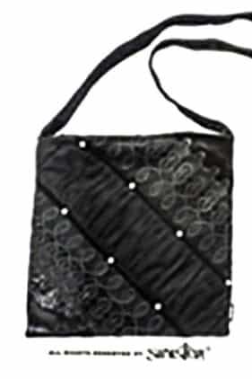 Womens Black Velvet Evening Bag (by Sinister)
