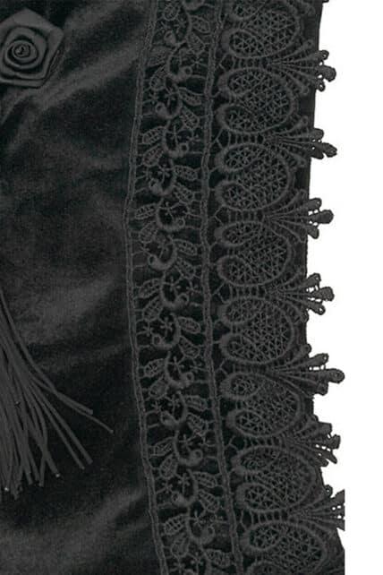 Womens Gothic Black Velvet Evening Bag