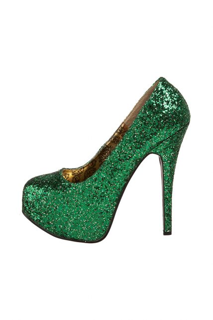 Womens Green Glitter Teeze 06 Shoes